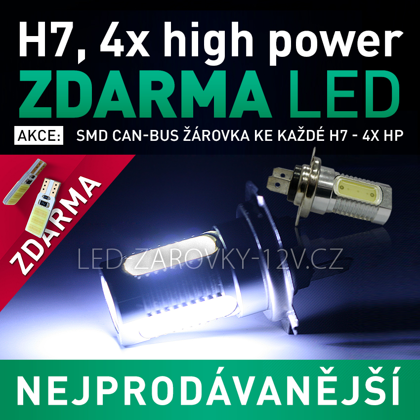 AKCE - LED SMD žárovka 12V s paticí H7, 4x High Power LED, 1ks