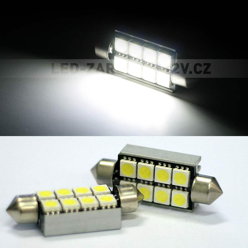 CAN-BUS sufitka bílá - Super Light, 8 SMD LED, 39mm, 1ks