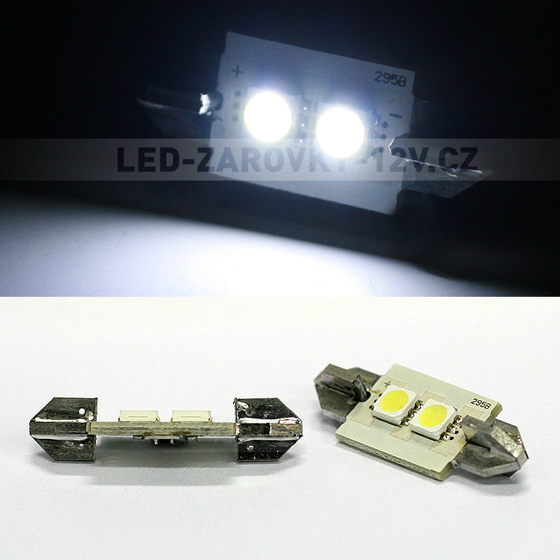 LED žárovky 12V - CAN-BUS sufitka bílá - Super Light, 2 SMD LED, 36mm, 1ks