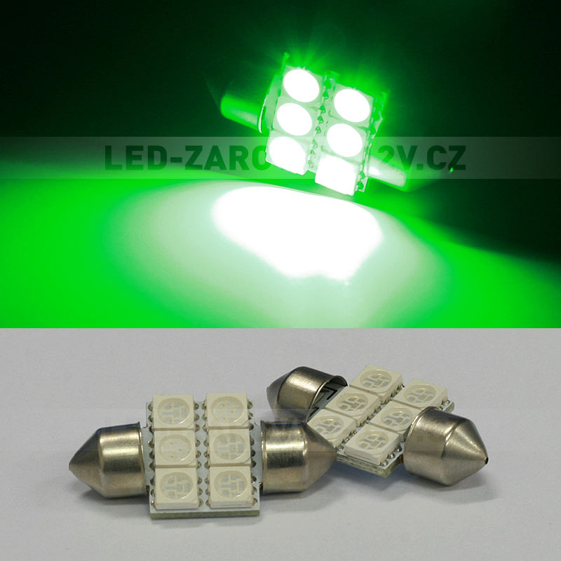 Sufitka zelená - Super Light, 6 SMD LED, 31mm
