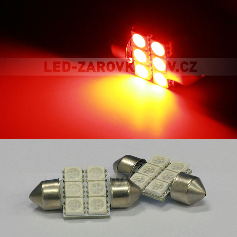 Sufitka červená - Super Light, 6 SMD LED, 31mm