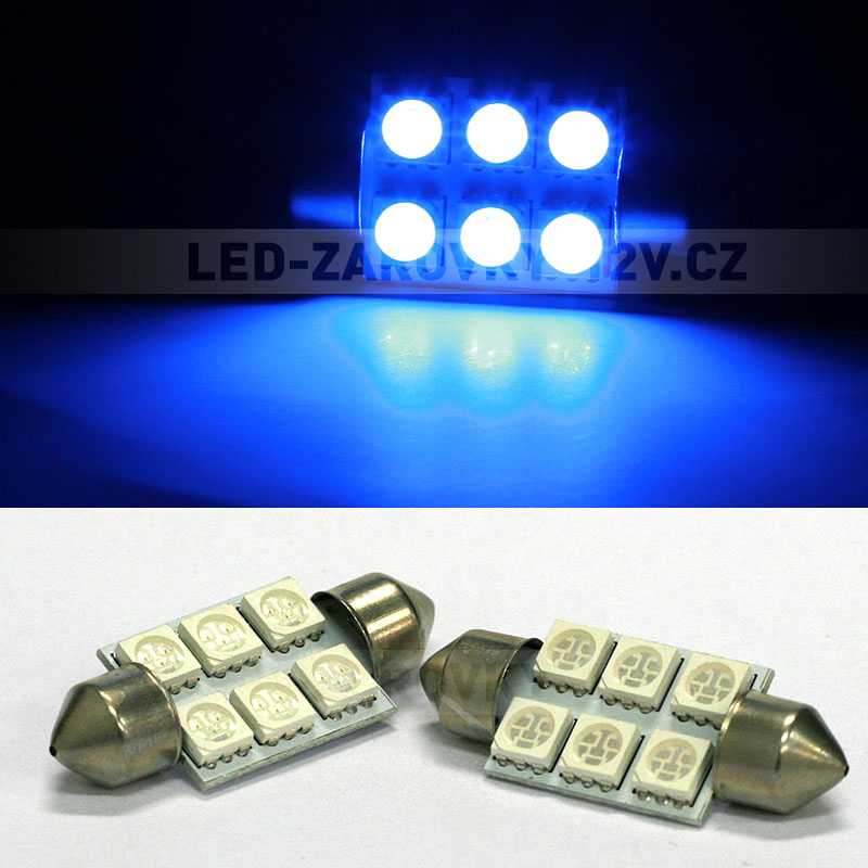 Sufitka modrá - Super Light, 6 SMD LED, 36mm