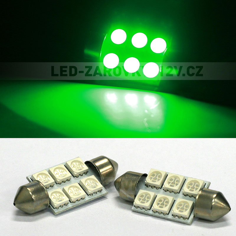 Sufitka zelená - Super Light, 6 SMD LED, 36mm