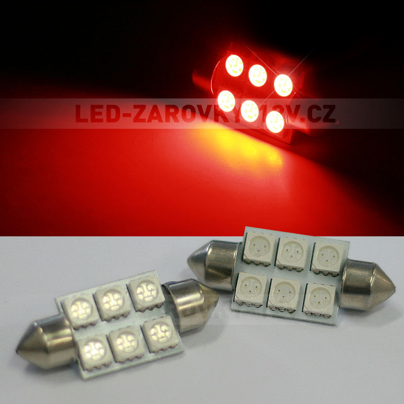Sufitka červená - Super Light, 6 SMD LED, 36mm