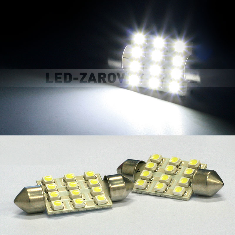 CAN-BUS sufitka bílá - Super Light, 12 SMD LED, 39mm, 1ks