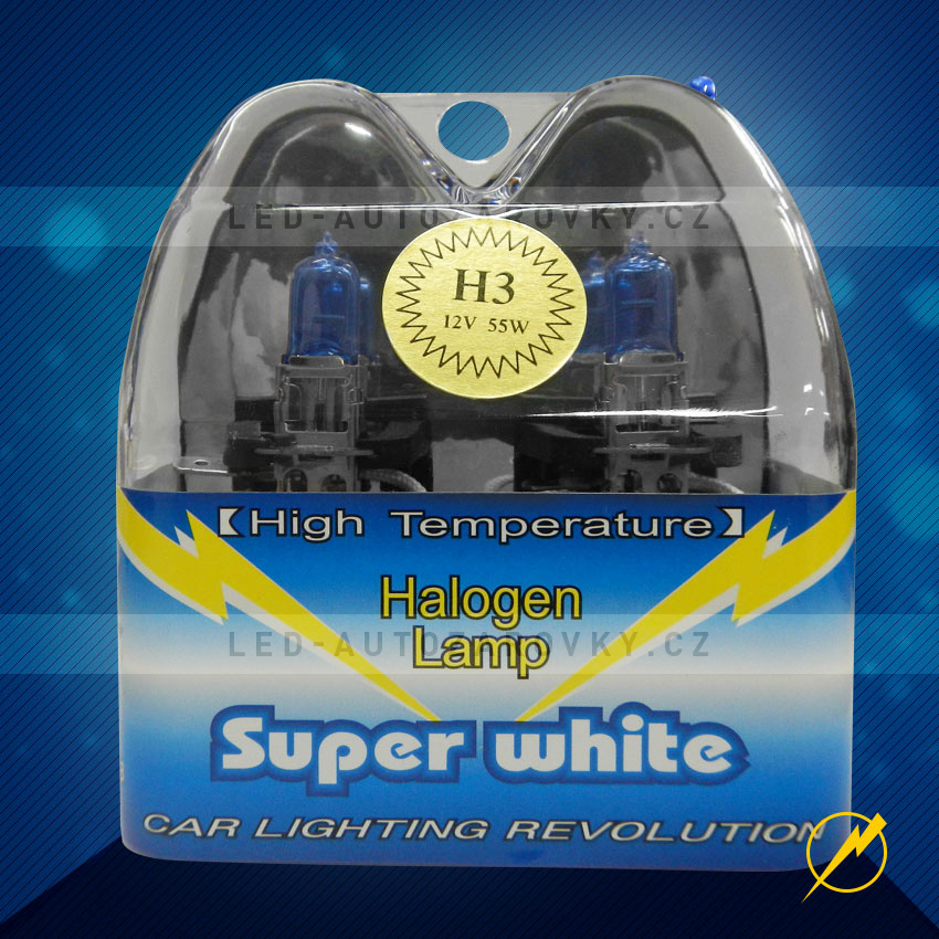 Žárovky do auta H3 Super white, 55W, sada 2ks