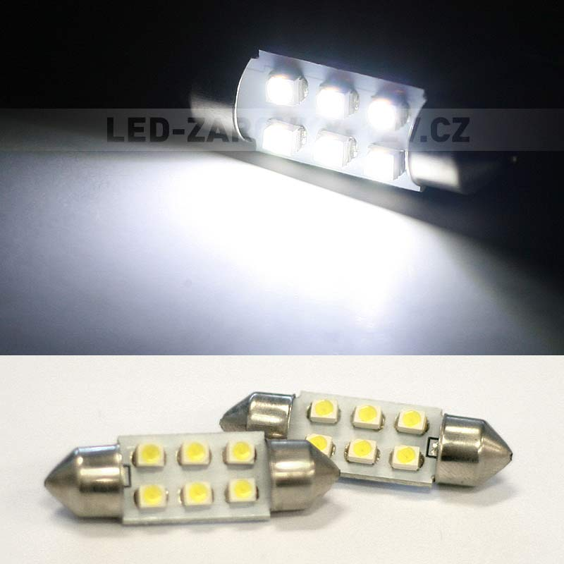 Sufitka bílá - Super 6xSMD LED, 41mm
