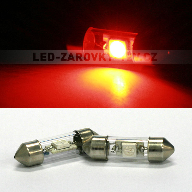 Sufitka červená - Super Light, 1x SMD LED, 31mm