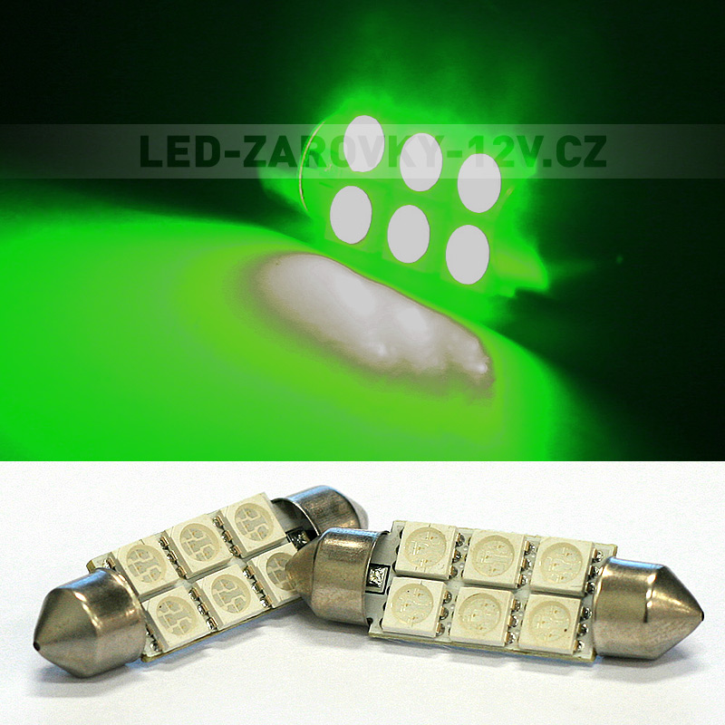 Sufitka zelená - Super 6xSMD LED SINGLE, 39mm