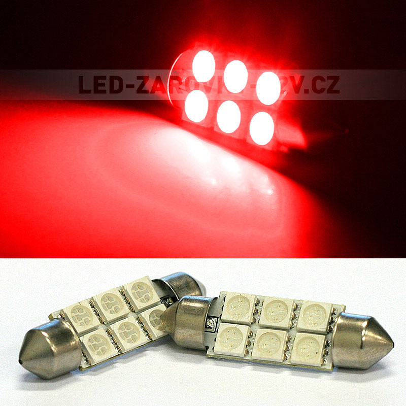 Sufitka červená - Super 6xSMD LED SINGLE, 39mm