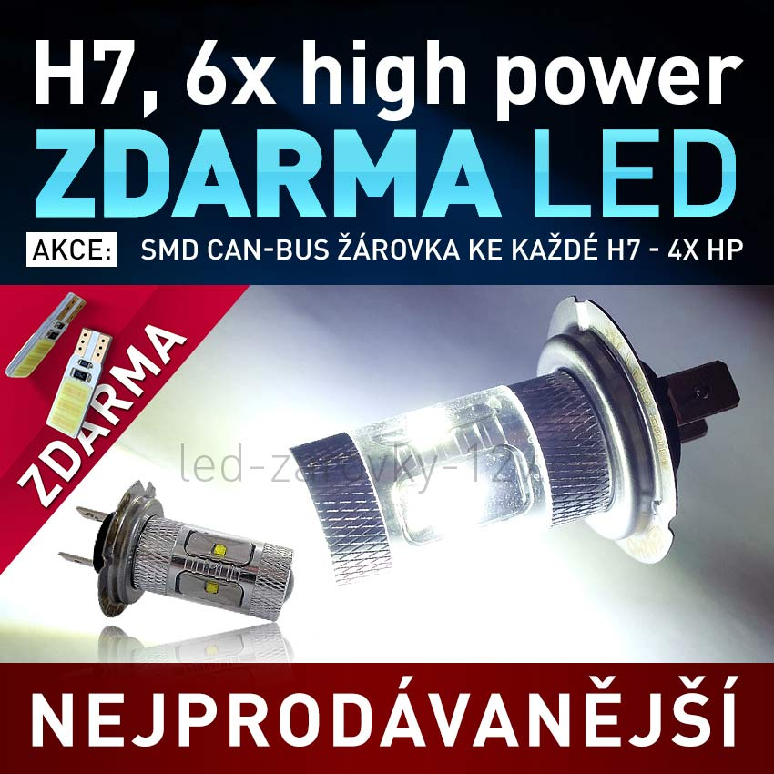 AKCE - LED SMD žárovka 12V s paticí H7, 6x High Power LED, 1ks