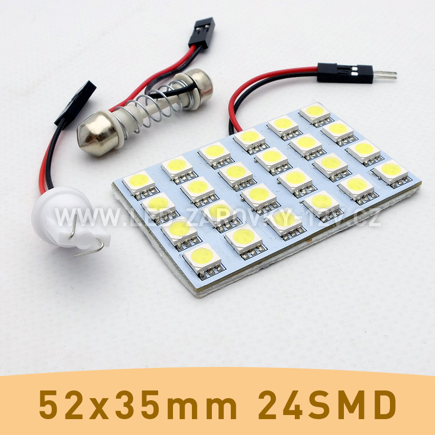 SMD LED panel 52x35mm 24smd s adaptérem pro sufitku 31 - 44mm a T10
