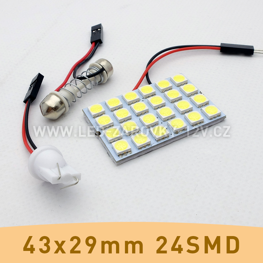 SMD LED panel 43x29mm 24smd s adaptérem pro sufitku 31 - 44mm a T10