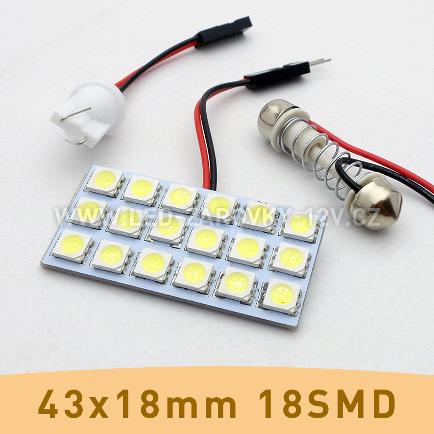 SMD LED panel 43x22mm 18smd s adaptérem pro sufitku 31 - 44mm a T10