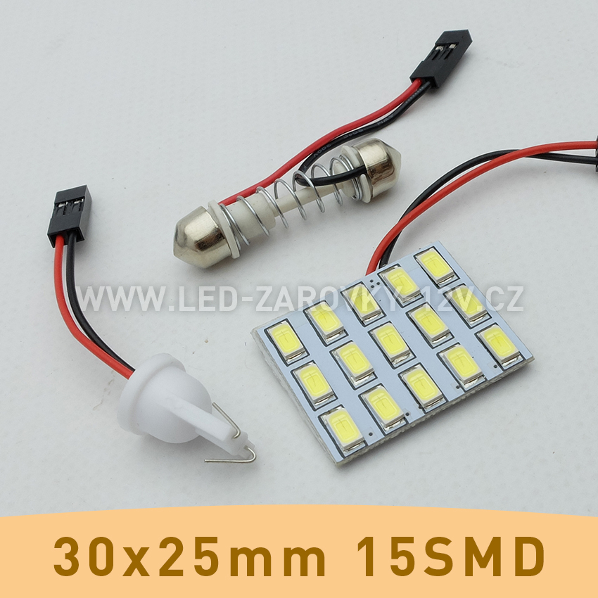SMD LED panel 30x25mm 15smd s adaptérem pro sufitku 31 - 44mm a T10