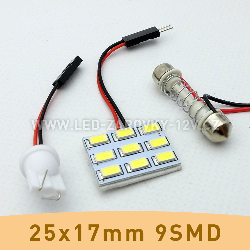 SMD LED panel 25x17mm 9smd s adaptérem pro sufitku 31 - 44mm a T10