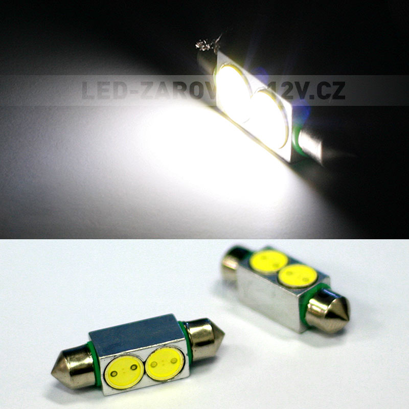 LED žárovky 12V - sufitka bílá - Super Light, 2 POWER LED, 36mm