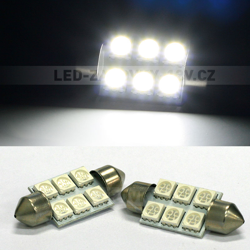 LED žárovky 12V - sufitka bílá - Super Light, 6 SMD LED, 36mm